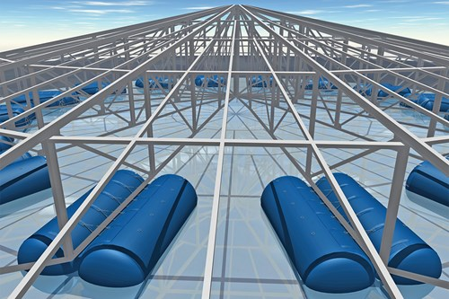 Inflatable floats for silo roofs